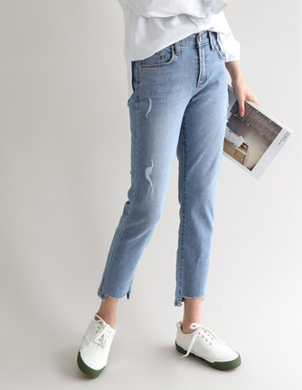 open cut denim pants