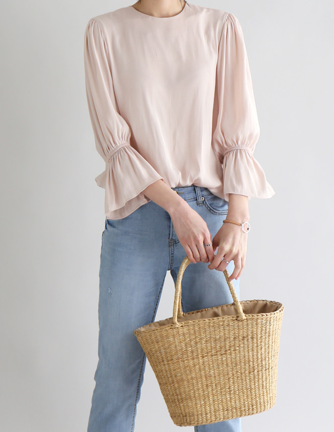 silk shirring blouse