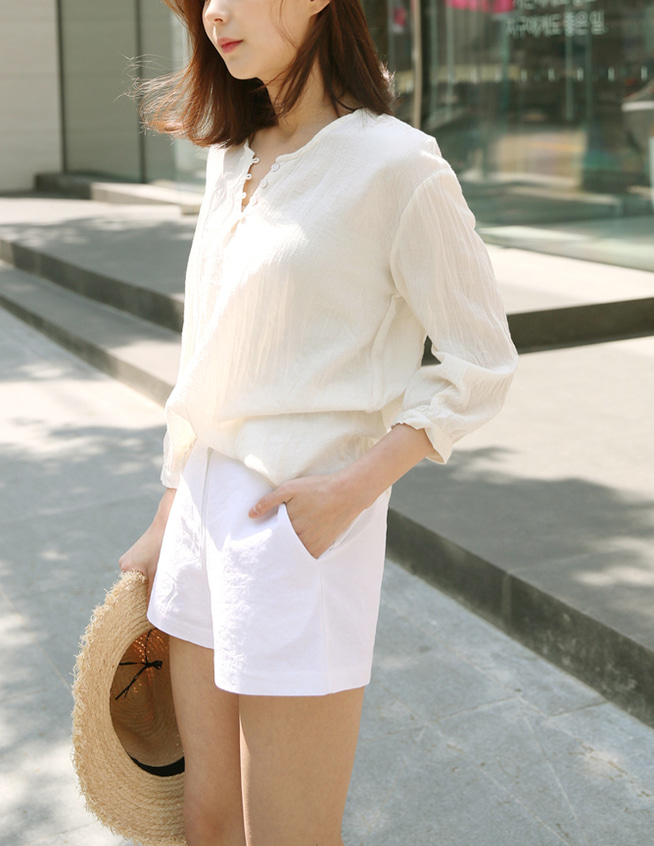 herringbone cotton blouse