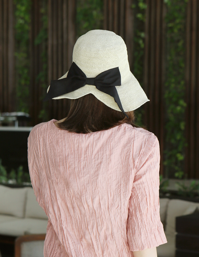 back ribbon hat
