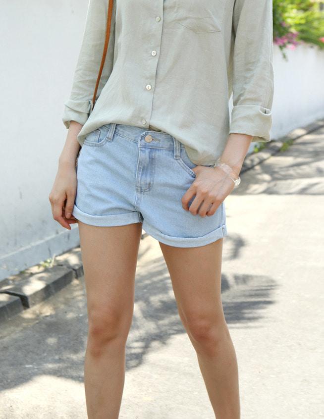 Roll up denim short pants